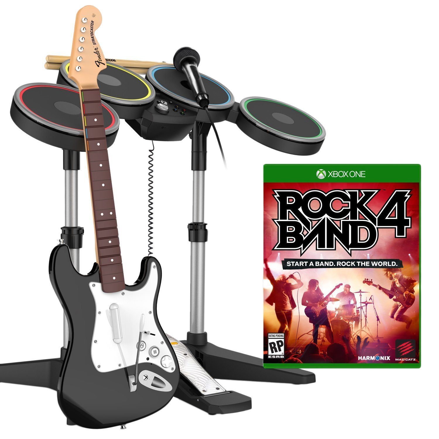 Rock Band 4 Band in a Box Bundle (игра + гитара Fender Stratocaster, барабаны, микрофон)